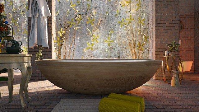 Rustic Wood Tub in Bathroom Shower