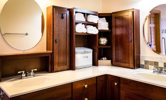 Built-in Storage in small bathroom